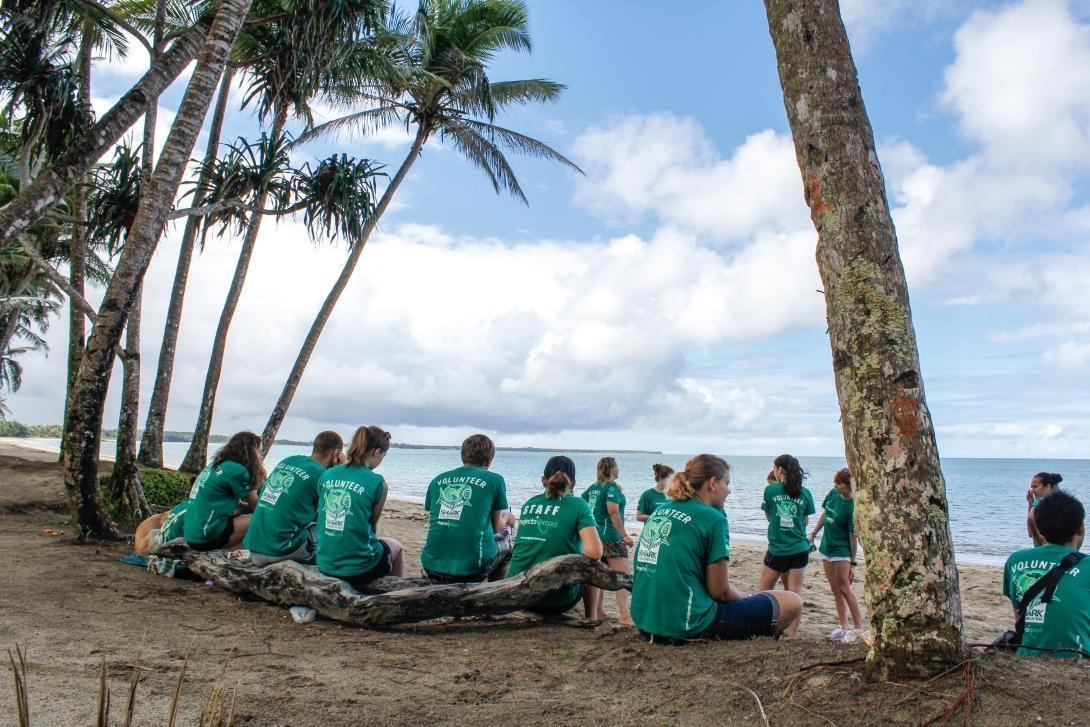 Projects Abroad Shark Conservation volunteers resting in the shade of coconut trees during a beach cleanup community day in Fiji
